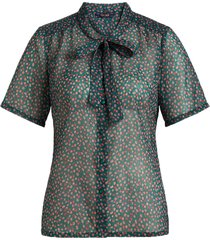 delia bow blouse coulisse voile para green