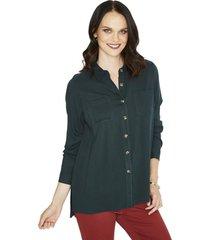blusa manga larga liso verde curvi