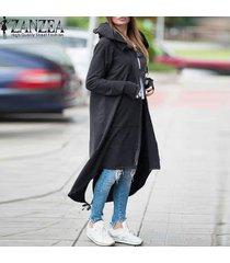 zanzea chaqueta con capucha de manga larga con cremallera asimétrica con cordón flojo largo ocasional con capucha negro draw abrigo gris de las mujeres más el tamaño gris oscuro -gris