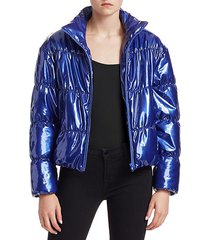 faux patent leather puffer jacket