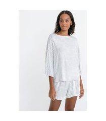 pijama blusa manga 3/4 ampla e short em viscolycra listrado | lov | cinza | g
