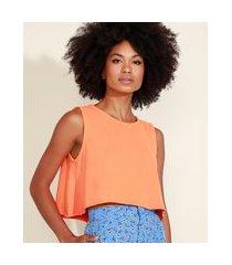 regata feminina mindset ampla cropped decote redondo laranja