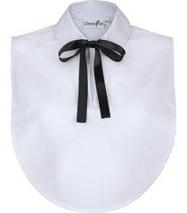 kraaginzet dress in wit met zwarte strik