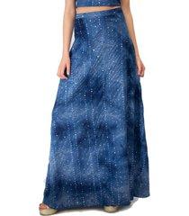 falda larga bristol azul lente lycra maria paskaro