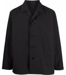homme plissé issey miyake camp-collar shirt jacket - black
