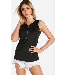 black zip diseño round cuello camiseta sin mangas