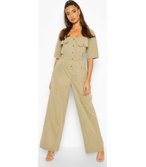 pocket detail utility wide leg jumpsuit, khaki