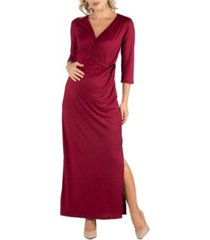 24seven comfort apparel ankle length side slit formal maternity maxi dress