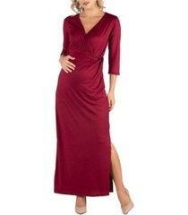 24seven comfort apparel ankle length side slit formal maternity maxi dress