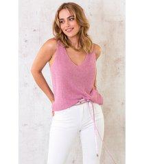 lurex top loose fit roze