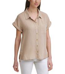 calvin klein short-sleeve button linen shirt