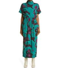 women's dries van noten doria floral print silk midi dress, size medium - purple