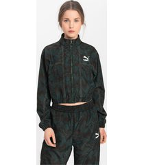empower soft woven trainingsjack voor dames, groen/aucun, maat xl | puma
