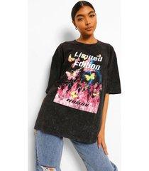 tall oversized acid wash gebleekt vlinder t-shirt, charcoal