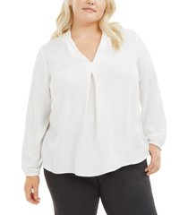 bar iii trendy plus size v-neck blouse, created for macy's