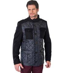 jaqueta de lã monacri matelassê preto