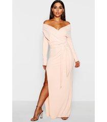 off the shoulder split maxi bridesmaid dress, nude