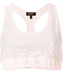 juicy couture swarovski embellished velour crop top - pink