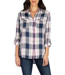 women's kut from the kloth hannah button down plaid shirt, size small - purple