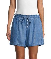 saks fifth avenue women's drawstring chambray shorts - medium indigo - size xs
