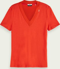 scotch & soda t-shirt met v-hals en korte mouwen