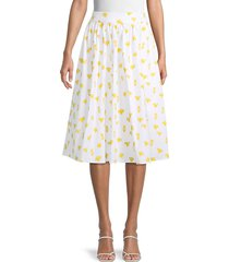 carolina herrera women's printed knee-length skirt - white multi - size 8