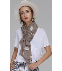 donna vintage sciarpa lunga a pois ricamati in cotone morbido scialle comodo
