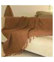 manta para sofá chenille ambiance - 140 x 140 cm ráfia
