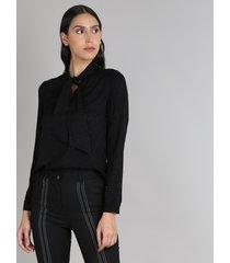 blusa feminina animal print manga longa gola laço preta