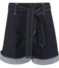 chloé belt-tie waist denim shorts