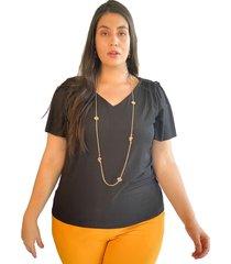 blusa acanalada con detalle en hombro negro plica