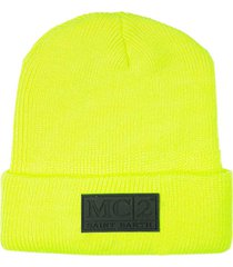 knit fluo yellow beanie