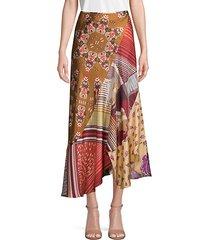 patchwork asymmetrical silk skirt