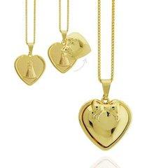 colar coração relicário nossa senhora semi joia