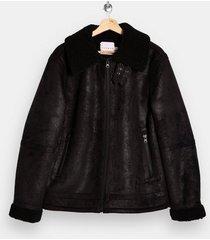 mens black shearling aviator jacket