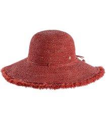 helen kaminski fringed wide brim hat in rose at nordstrom