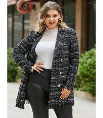 yoins plus talla cuello de solapa estampado de bufanda cinturón diseño abrigo de manga larga