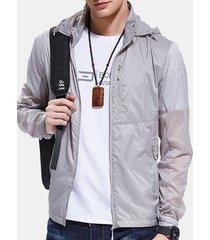 giacca con cappuccio da uomo con cappuccio multistrato super sottile da esterno