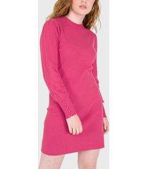 vestido io tejido rosa - calce regular