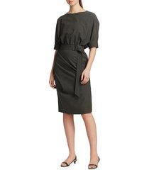 brunello cucinelli women's belted cuffed stretch-wool midi dress - dark grey - size l