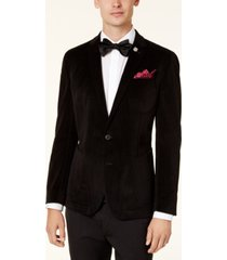 nick graham men's slim-fit black velvet houndstooth dinner jacket