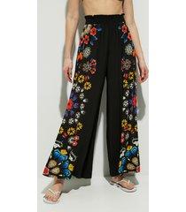 wide leg trousers mandalas - black - xl