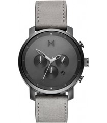 mvmt chronograph chrono monochrome gray leather strap watch 45mm