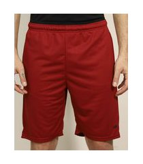 bermuda masculina esportiva ace com bolsos e cós contrastante vermelha