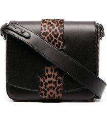 hogan leopard-panel shoulder bag - black