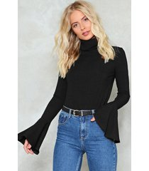 womens flare to dream turtleneck sweater - black