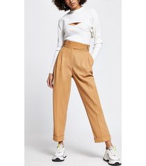 river island womens beige buckle waist peg pants