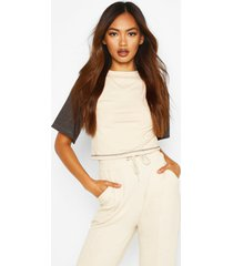 ribbed contrast colour block crop top, off white
