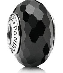 charm de prata e murano facetado preto