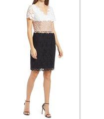 women's shani lace colorblock sheath dress, size 12 - black